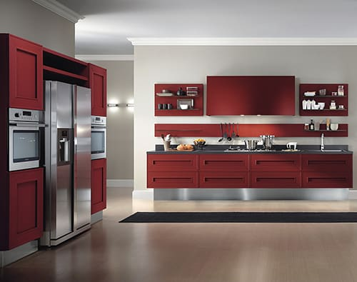 dramatic red kitchen melograno composit painted oak 2 Red Painted Kitchen Cabinets   dramatic oak kitchen Melograno by Composit