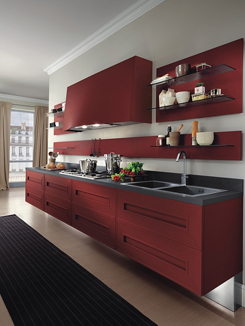 dramatic red kitchen melograno composit painted oak 4