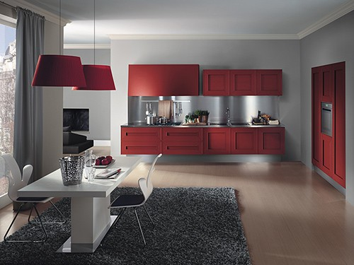 dramatic red kitchen melograno composit painted oak 6
