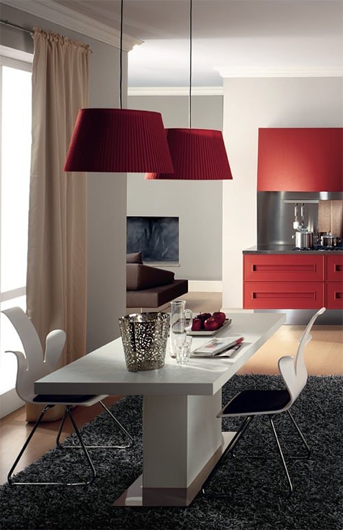 dramatic red kitchen melograno composit painted oak 7
