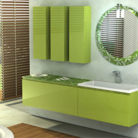 Fresh Bamboo Green Color Vanity by Duebi Italia