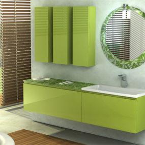 Fresh Bamboo Green Color Vanity by Duebi Italia