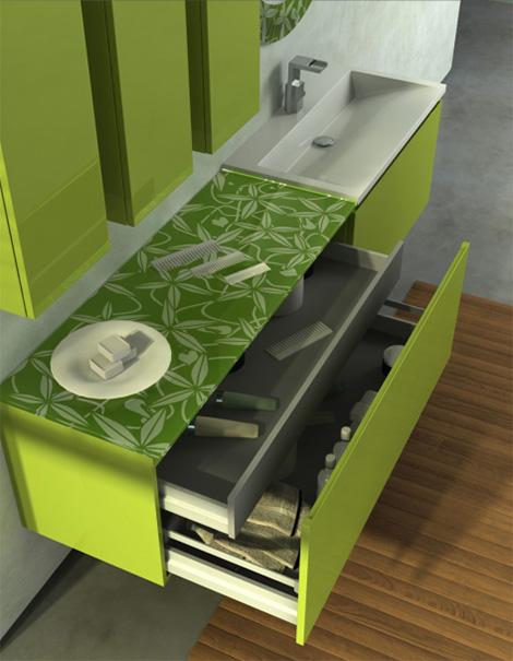 duebi italia bamboo green vanity drawers Fresh Bamboo Green Color Vanity by Duebi Italia