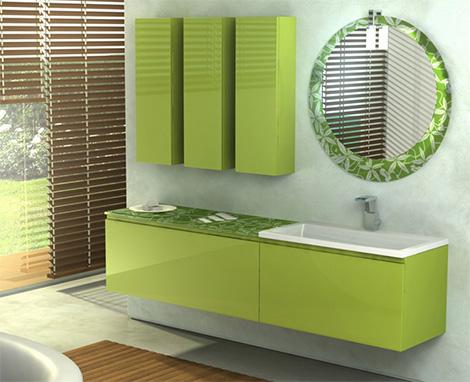 duebi italia bamboo green vanity Fresh Bamboo Green Color Vanity by Duebi Italia