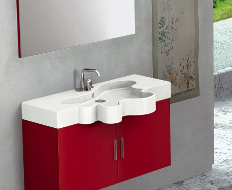 Duebi Italia Flower vanity as a double cupboard in vibrant red