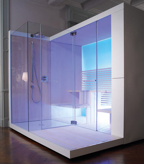 duravit inipi sauna new modern designer sauna with shower. Black Bedroom Furniture Sets. Home Design Ideas