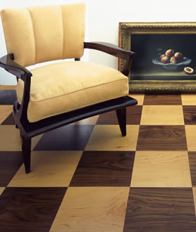 ebony bespoke chequerboard flooring walnut maple Chequerboard wood flooring by Ebony   handcrafted solid wood floors