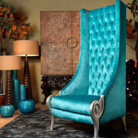 Eclectic High Back Chairs – Majestic Turquoise Armchair by Collection Alexandra