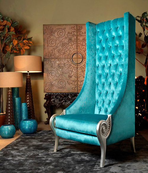 eclectic high back chair turquoise armchair alexandra 1 Eclectic High Back Chairs   Majestic Turquoise Armchair by Collection Alexandra
