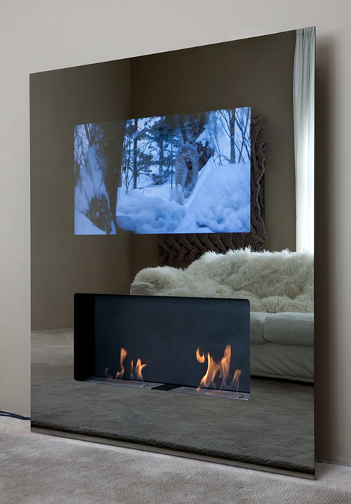 eco friendly fireplace lcd tv safretti Eco friendly Fireplaces with built in LCD TV   Safretti Double Vision