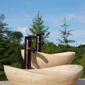 New Canoe Shaped Stone Sinks from Eden Bath have a Powerful Profile