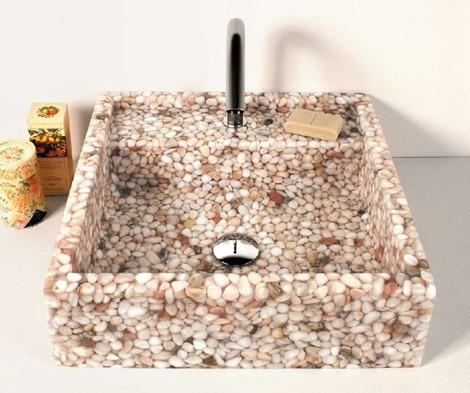 effepimarmi sink riverstone 2 Riverstone Pebble Sink collection from Effepimarmi