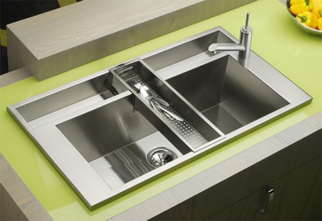 Elkay Avado Accent sink with faucet installed on a side