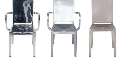 emeco recycled aluminum chairs hudson is designed by phillipe starck