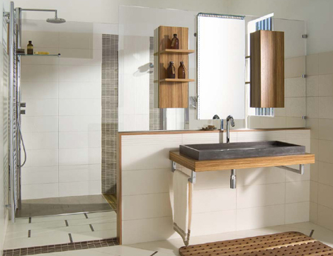 Emme Design Walk-in bathroom is outlined in natural wood