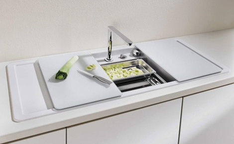 Enclosed Kitchen Sinks With Movable Cutting Boards And Retractable