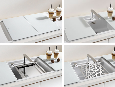 enclosed kitchen sinks blanco 5 Enclosed Kitchen Sinks with Movable Cutting Boards and Retractable Faucets   new from Blanco