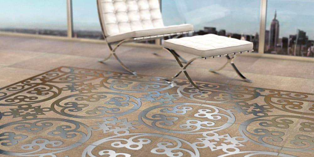 Engineered Polymer Concrete Tile with Embedded Metal Decoration by ...
