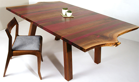 eric manigian walnut dining table 1 thumb Solid Walnut Dining Table   absolutely gorgeous with purple heart wood