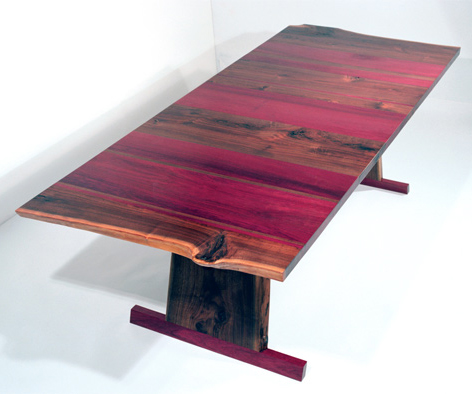 eric manigian walnut dining table Solid Walnut Dining Table   absolutely gorgeous with purple heart wood