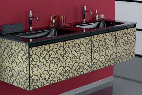 eurobagno vanity cristal beige Eurobagno Cristal Vanity offers swirling motif on etched glass