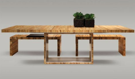 extendable table adora 09 with benches schulte design