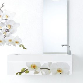 Modern Bathroom Furniture – white floral decor by Fratelli Branchetti