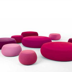 Fabric Pouf – soft round ottoman Pix by Arper