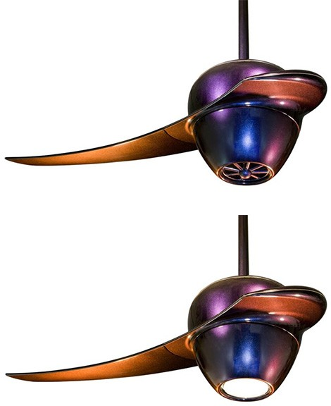 fanimation ultra modern ceiling fan enigma Ultra modern Ceiling Fan by Fanimation   Enigma single blade fan gets iridescent finish!