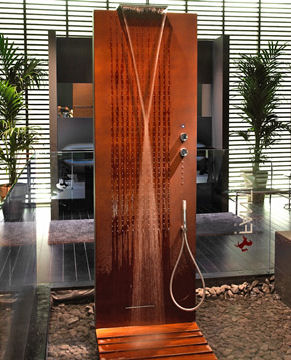 Designer Shower Panel from Fantini – the new Acquapura free-standing shower panel