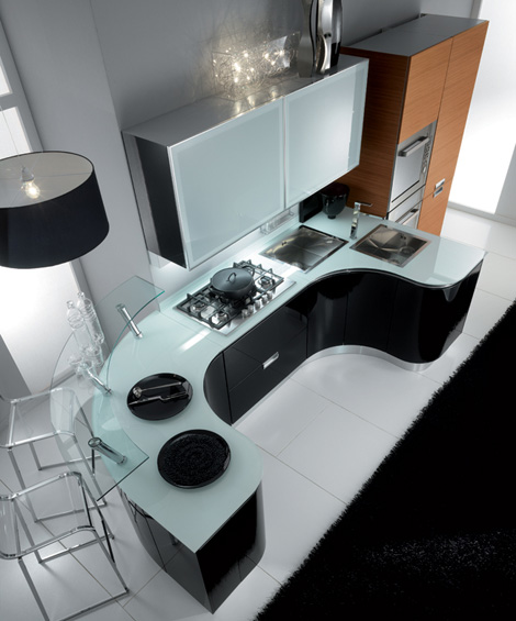 fiamberti rolly kitchen top view Rounded Kitchen from Fiamberti   trendy Rolly kitchen