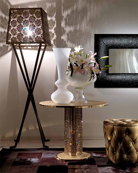 fiorentino giotto swarovski crystal coffee table1 Coffee Table in Metal with Swarovski Crystals from Fiorentino Home