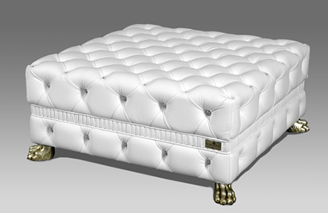 fiorentino leonardo swarovski crystal gold ottoman Leather Ottomans with Swarovski Crystals   pure luxury by Fiorentino