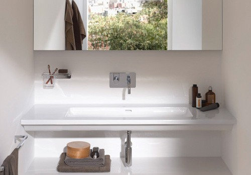 flat bathroom sinks living square laufen 2