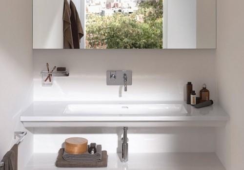 Flat bathroom sinks laufen living square for Flat bathroom sinks