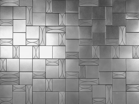 flux studios lineage hourglass stainless steel tile thumb Stainless Steel and Bronze Tiles   The Lineage Tile Line from Flux Studios
