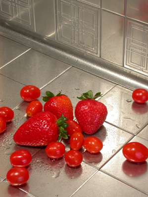 flux studios tile strawberry Stainless Steel and Bronze Tiles   The Lineage Tile Line from Flux Studios