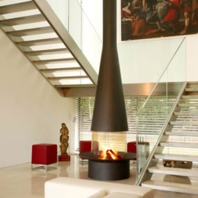 Contemporary fireplace FilioFocus by Focus – Japanese style free-standing fireplace