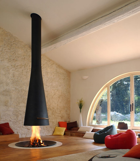 focus fireplace filiofocus telescopique Suspended Fireplace   hot new trend