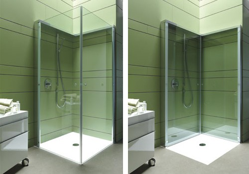folding shower enclosure duravit openspace 1 Folding Shower Enclosure by Duravit offers extra OpenSpace in compact bathroom