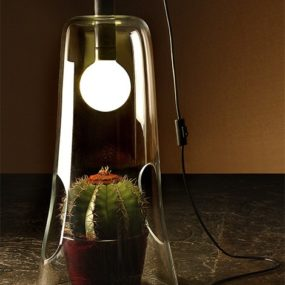 Microcosmo Table Lamp in Murano glass from Formia functions as a mini greenhouse!