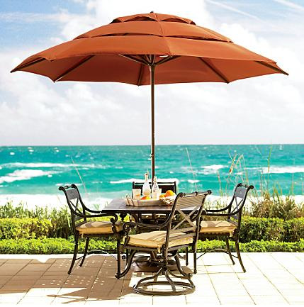 Frontgate Easy Open Bronze Frame umbrella made in aluminium