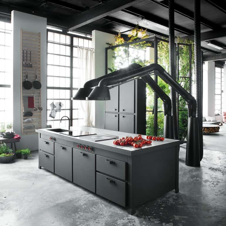 Futuristic extractor hood mammut for mina kitchen by for Container isole