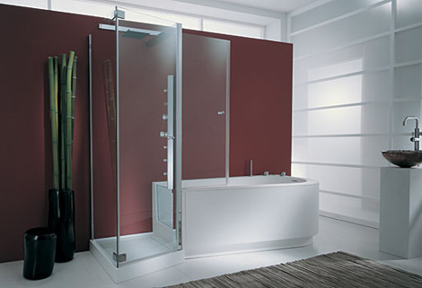 small soaking tub shower combo by marmorin