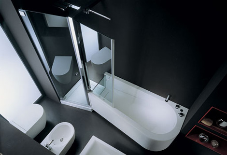 genesi tandem shower tub Tub Shower Combo from Genesi   the Tandem combo for two