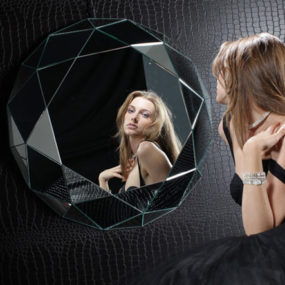 Geometric Wall Mirror – dramatic Diamante by Regia