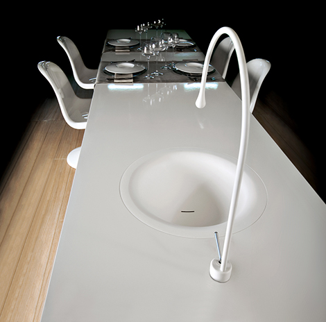 gessi goccia dining table concept Goccia Kitchen Faucet by Gessi is built into the dining table