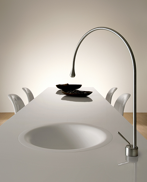 gessi goccia dining table faucet Goccia Kitchen Faucet by Gessi is built into the dining table