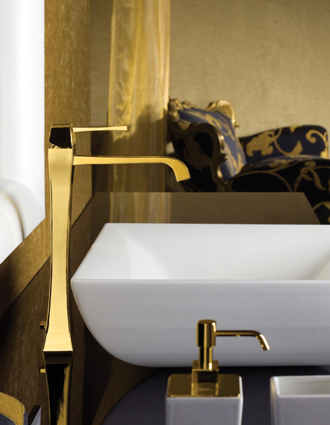 Gessi Mimi bathroom faucet in Gold finish
