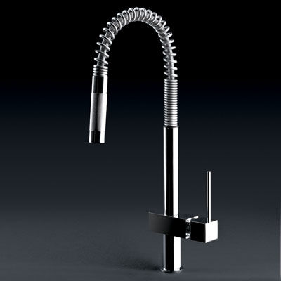 gessi quadro hi tech pull out kitchen faucet Quadro Hi Tech kitchen faucet from Gessi   contemporary pull out faucets